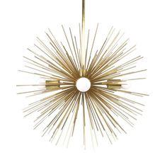 gold urchin starburst sphere chandelier lighting midcentury modern traditional dutton brown