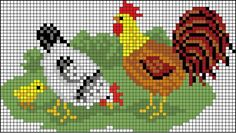 Chicken Cross Stitch, Mini Cross Stitch, Beaded Cross Stitch, Cross Stitch Animals, Counted Cross Stitch Patterns, Cross Stitch Charts, Cross Stitch Designs, Hand Embroidery Stitches, Cross Stitch Embroidery