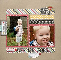 Simple Stories - Collection Scrapbook layout Simple stories layout - Off He Goes. School Scrapbook Layouts, Scrapbook Layout Sketches, Scrapbooking Layouts, Scrapbook Cards, Picture Scrapbook, Yearbook Layouts, Yearbook Design, Scrapbook Templates, Disney Scrapbook