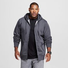 Men's Big & Tall Sizes Fleece Full Zip Hoodies Dark Gray MT - C9 Champion, Size: M Tall, Charcoal Heather