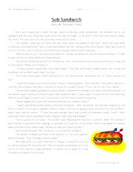Printables English Reading  Worksheet For Sixth Grade sixth grade reading comprehension worksheet sub sandwich worksheet