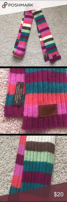 """Coach skinny scarf Excellent condition multi colored skinny scarf ! A few snags and separations along edge of fabric as shown in pics but not truly noticeable! Measures 4"""" x 88"""" Coach Accessories Scarves & Wraps"""