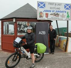 Penny Burgess, riding from Lands end to John O'groats on an A2B Obree. September 2014