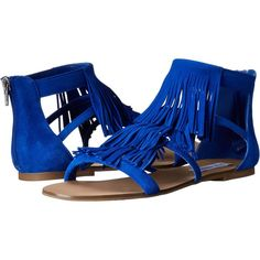 Steve Madden Favore (Blue Suede) Women's Sandals ($56) ❤ liked on Polyvore featuring shoes, sandals, blue, steve-madden shoes, steve madden footwear, fringe shoes, blue suede sandals and steve madden