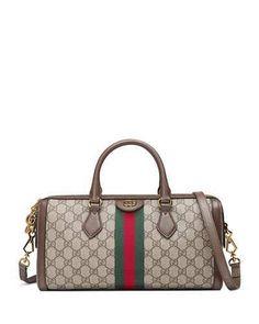 3a6bc3df180 Gucci Ophidia Web GG Supreme Canvas Top-Handle Bag Macrame Bag, Prada Bag,