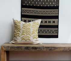 Metallic gold & natural handprinted organic hemp pillow cover 20x20.