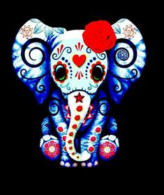 Día de los Muertos Baby Elephant Tattoo, Elephant Love, Elephant Art, Elephant Trunk, Sugar Skull Tattoos, Sugar Skull Art, Sugar Skulls, Elefante Hindu, Day Of The Dead Art