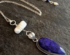 Long Sterling Silver Raw Sapphire pendant necklace with a Baroque Freshwater Pearl September birthstone jewelry - Healing - Boho - Chakra