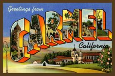 Carmel California Large Letter   - 1930 Postcard. Quilt Block printed on cotton. Ready to sew. Single 4x6 block $4.95.