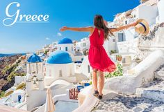 Europe travel vacation fun summer woman dancing in freedom with arms up happy in Oia, Santorini, Greece island. Carefree girl tourist in European destination wearing red fashion dress. Best Vacations, Vacation Trips, Vacation Spots, Summer Vacations, Vacation Travel, Italy Travel, Travel Usa, Greece Travel, Travel Europe