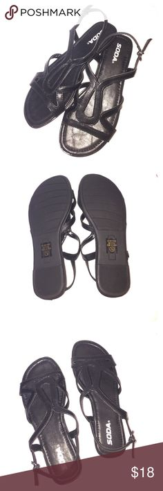 ➿Black Cut Out Patterned Sandals➿ Brand New In original box. Size 7.5. Sandals. Black, faux Leather. Soda Shoes Sandals