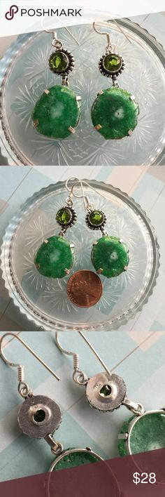 Green solar Quartz earrings NWOT Sterling silver earrings with green solar Quartz as the main stone and peridot gemstones. Irregularities are to be expected with natural gemstones. Jewelry Earrings