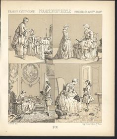 French Mother Talking to Children C 1880 Antique Tinted Lithograph Print  $27.95