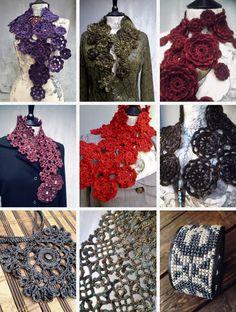 Merino wool collars and scarfs Burlap Wreath, Scarfs, Crochet Projects, Merino Wool, Hand Knitting, Collars, Artisan, Ruffle Blouse, Wreaths