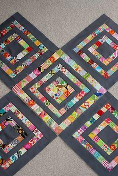 Scrapbuster Quilt Blocks: Two in One - Little Miss Shabby. I like the white border better.
