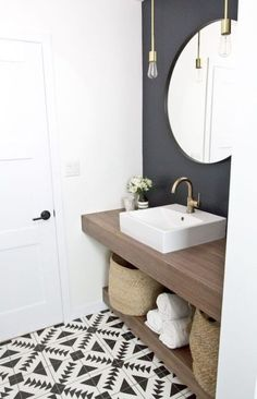 54 Half Bathroom Ideas For Beautiful Bathroom Design On A Budget Decoration # Ikea Hack Bathroom, Downstairs Bathroom, Small Bathroom, Master Bathroom, Bathroom Ideas, White Bathroom, Bathroom Wall, Bathroom Lighting, Bathroom Green