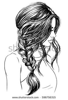 Find Beauty Woman Luxurious Long Braid Hairstyle stock images in HD and millions of other royalty-free stock photos, illustrations and vectors in the Shutterstock collection. Pop Art Drawing, Makeup Drawing, Woman Drawing, Ink Pen Drawings, Art Drawings Sketches, Drawing Hair Braid, How To Draw Braids, Hair Sketch, Surreal Photos