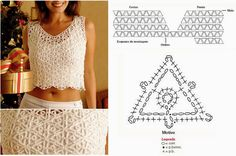 Crochet Blouses Photos, Templates, Graphics, Step By Step and Types of Dots Crochet Skirt Pattern, Crochet Fabric, Crochet Shirt, Crochet Bikini, Crochet Patterns, Crochet Ideas, Top Crop Tejido En Crochet, Knit Crochet, Crochet Shrugs