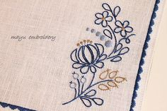 Hungary Embroidery : Blue Embroidery Placemat - Mayu Embroidery