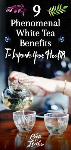 9 Phenomenal White Tea Benefits To Improve Your Health - Cup & Leaf #whitetea #rwhiteteahealthbenefits #benefitsofwhitetea #whiteteaforhealth #benefitsoftea #teaforhealth Tumeric Tea Recipe, Best Teas For Health, White Tea Benefits, Best Matcha Tea, Different Types Of Tea, Quick Vegetarian Meals, Weight Loss Tea, Oolong Tea, Herbalism