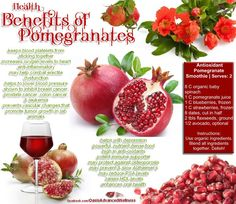 Pomegranate is loaded with free radicals, folic acid and polyphenols such as ellagic acid and vitamin C