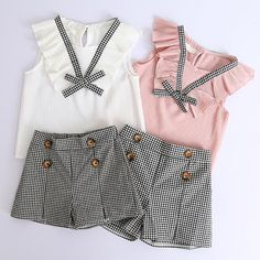 Style Flower Design Short Sleeve T-shirt+Double Pocket Pants For Shorts E Blusas, Minimalist Outfit Summer, Cheap Girls Clothes, Short Niña, Shorts With Pockets, Pocket Shorts, Tights Outfit, Outfit Sets, Girl Fashion