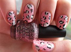 leopard nails - I like to do this when I want some design on my nails, because it's simple to do :) Pink Cheetah Nails, Leopard Print Nails, Leopard Prints, Sexy Nails, Cute Nails, Pretty Nails, Nails Short, Stylish Nails, Creative Nails