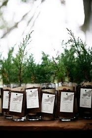 Plant a tree favors. Love this idea for local guests -I think I would rather work with a local nursery to ensure the tree would be appropriate and native to the area.  <3 Magnolia would be amazing!