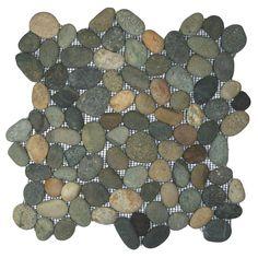 Bali Ocean Pebble Tile Shower Floor with Accents - Pebble Tile Shop Stone Mosaic Tile, Pebble Mosaic, Mosaic Wall, Mosaic Glass, Pebble Tile Shower Floor, Wall And Floor Tiles, Wall Tiles, Concrete Shower, Stone Shower