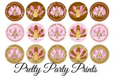 Instant Download Pink Turkeys 1 inch Round Circles for Bottle
