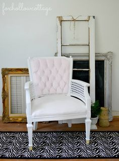Velvet painted upholstery - before and after chair makeover - #paintedfurniture Maison Blanche paint.