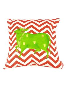 Red-Green Organic Cotton Cushion Cover - 16in x 16in. $75