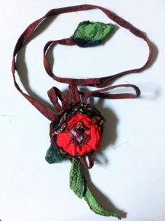 Fabric Necklace (Type2) *Season's flower*4- Creative Recycling collection-handmade-by GiuvaDesign di GiuvaDesign su Etsy