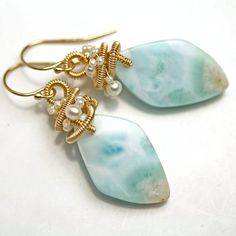 Larimar and Pearl Wire Wrapped Dangle Earrings by fussjewelry