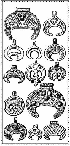 moon symbol - It is a pagan symbol found in ancient Slavic and Norse cultures - Привески-лунницы. X–XII века I Lunula symbol Moon Symbols, Pagan Symbols, Ancient Symbols, Ancient Artifacts, Medieval Jewelry, Viking Jewelry, Ancient Jewelry, Wiccan Jewelry, Viking Life