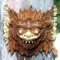 Wood mask, 'Protective Narashima Lion'