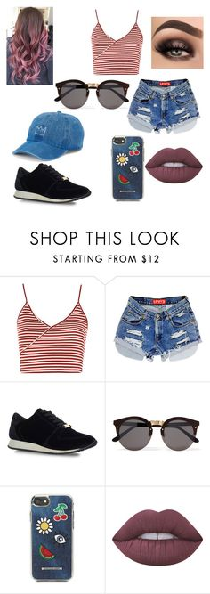 """""""Untitled #199"""" by blancaxrodriguez on Polyvore featuring Topshop, Carvela Kurt Geiger, Illesteva, Rebecca Minkoff, Lime Crime and SO"""
