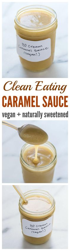 Clean Eating Caramel Sauce. Naturally sweetened with maple syrup and made with vanilla soy or almond milk instead of heavy cream!