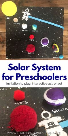 Make this Solar System for Preschoolers and have your preschooler take the astronaut on a planet adventure! All it takes is a few items you have laying around the house! Solar System Projects For Kids, Solar System Activities, Solar System Crafts, Pre K Activities, Space Activities, Space Preschool, Preschool Science, Preschool Crafts, Crafts For Kids