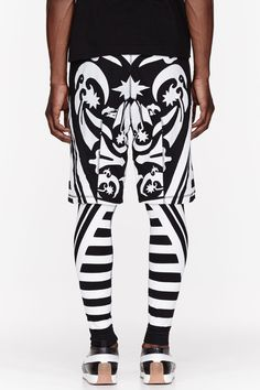 KTZ Black & White Tattoo print layered lounge pants