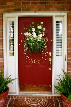 Gorgeous Red Door with Spring Wreath Alternative. What a stunner!! Front Porch Decor Decorating Idea, includes wreath tutorial - Great curb appeal!!