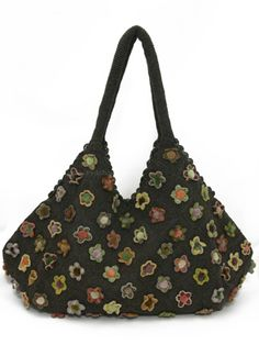 Sophie Digard Wild Flower Tote in Flower Mix : Ped Shoes Crochet Purses, Crochet Bags, Knitted Bags, Love Crochet, Beautiful Crochet, Crochet Flowers, Knit Crochet, Motif Floral, Granny Squares