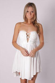 lyrebird cocktail dress - white - SALE