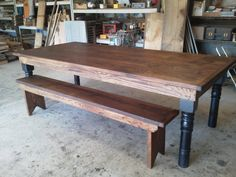 Reclaimed Oak table and bench with turned legs