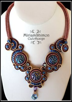 Vintage Soutache necklace in Blue Copper and от MiriamShimon