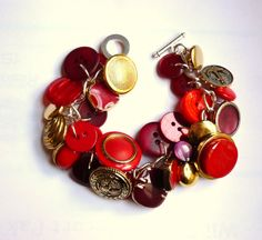 red & gold vintage button bracelet