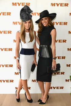 Nadia Coppolino and Rebecca Judd wearing classic Derby Day looks. Ladies Day Outfits, Race Day Outfits, Derby Outfits, Ugly Outfits, Races Outfit, Classy Outfits, Horse Race Outfit, Derby Day Fashion, Race Day Fashion