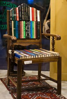 """The Book Chair -- Though actually decor, I'm pinning it under art, as the click-through has some other very cool book art.  [The original photo is """"The Book Chair,"""" by bobtravis, via Flickr, http://www.flickr.com/photos/bobtravis/4430224432/]"""
