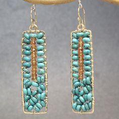 Hammered drop earrings turquoise and mandarin garnet  Bohemian 137