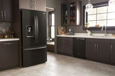 in Black by Whirlpool in Seattle, WA - Wide Counter Depth French Door Refrigerator - 24 cu. Side By Side Refrigerator, French Door Refrigerator, Kitchen Cabinets, Kitchen Appliances, Kitchens, Counter Depth, Smart Kitchen, Kitchen Trends, Cuisine
